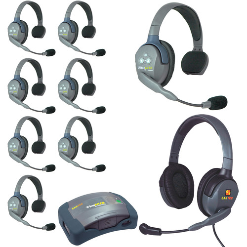 Eartec Ultralite  Hub 9 Person System with 8 Single, 1 Max 4G Double, and Batteries, Charger and Case