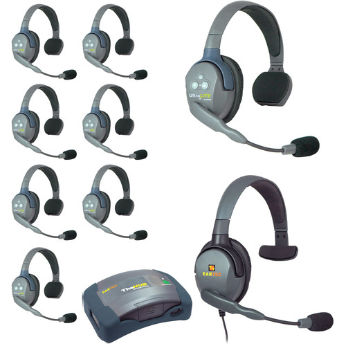 Eartec Ultralite  Hub  9 Person System with 8 Single, 1 Max 4G Single, and Batteries, Charger and Case
