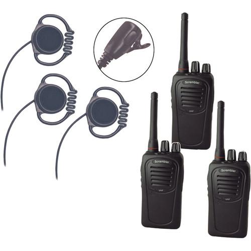 Eartec Scrambler SC-1000 Plus 2-Way Radio & Loop Headset 3-Person System