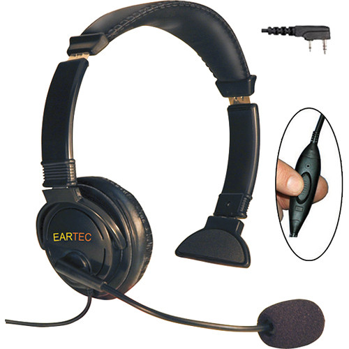 Eartec Lazer Headset with Inline PTT & 2-Pin Kenwood Connector