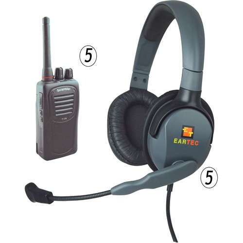 Eartec 5-User SC-1000 Radio System with Max 4G Double Inline PTT