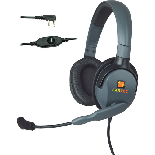 Eartec Headset with Max 4G Double Connector & Inline PTT for Kenwood 2-Pin Radios