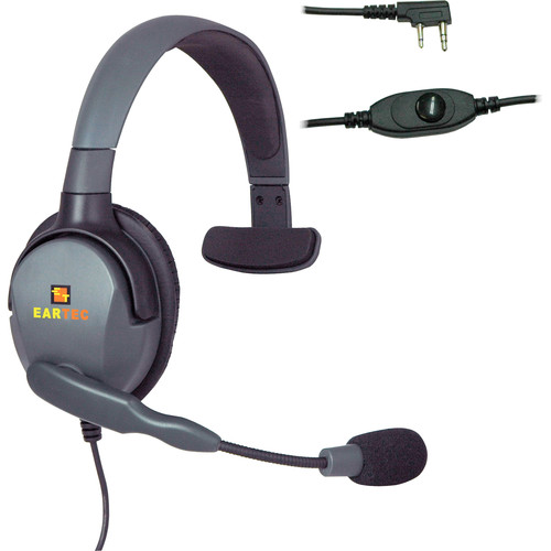 Eartec Headset with Max 4G Single Connector & Inline PTT for Kenwood 2-Pin Radios