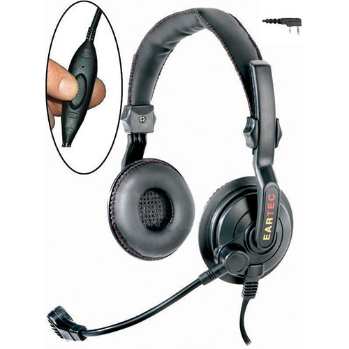 Eartec Slimline Double Headset with Inline PTT and Kenwood 2-Pin Connector