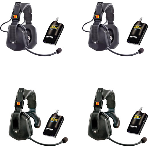 Eartec Four Simultalk 24GB Beltpacks with Two Ultra Double Headsets and Two Ultra Single Headsets