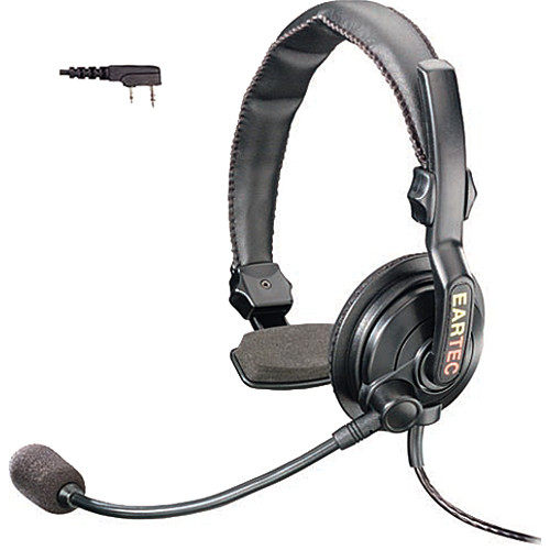 Eartec Slimline Single Headset with Push-To-Talk for 2-Pin Kenwood Radios