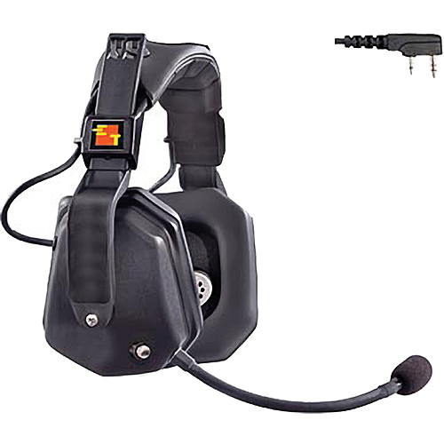 Eartec Ultra Double Headset with 2-Pin Shell Mount PTT Connector for Kenwood 2-Way Radios