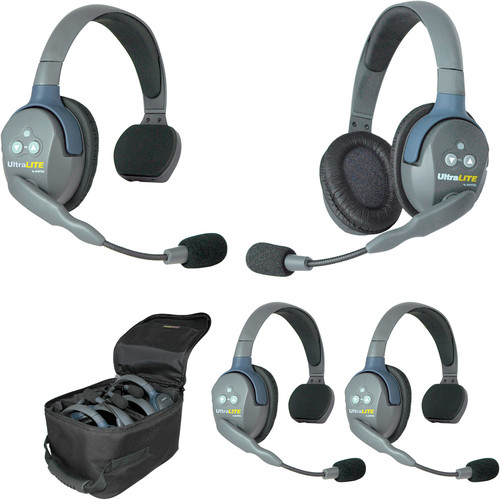 Eartec Ultralite 4 Person System with 3 Single, 1 Double Headsets, Batteries, Charger & Case