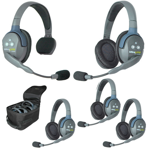 Eartec Ultralite 5 Person System with 1 Single, 4 Double Headsets, and Batteries, Charger and Case