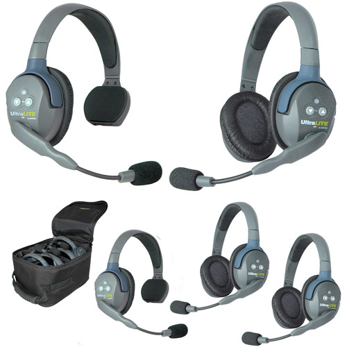 Eartec Ultralite 5 Person System with 2 Single, 3 Double Headsets, and Batteries, Charger and Case