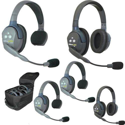 Eartec UL532 5-Person Full-Duplex Wireless Intercom with 3 UltraLITE Single-Ear & 2 UltraLITE Dual-Ear Headsets
