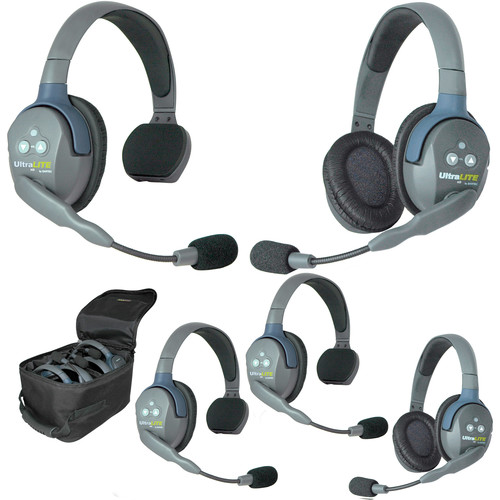 Eartec Ultralite 5 Person System with 3 Single, 2 Double Headsets,and Batteries, Charger and Case