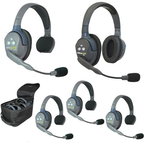 Eartec UL541 5-Person Full-Duplex Wireless Intercom with 4 UltraLITE Single-Ear & 1 UltraLITE Dual-Ear Headsets