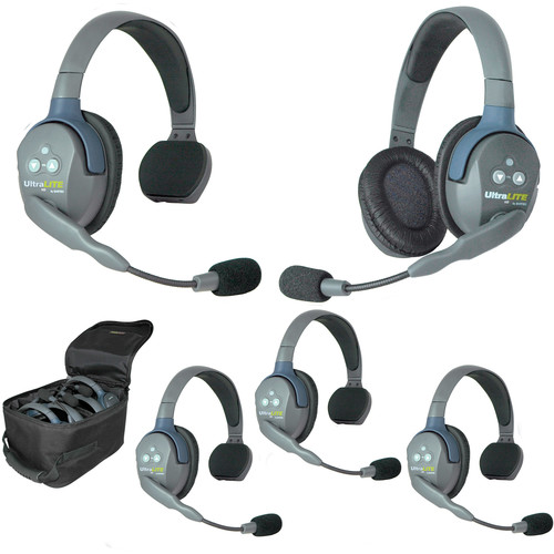 Eartec Ultralite 5 Person System with 4 Single, 1 Double Headsets, and Batteries, Charger and Case