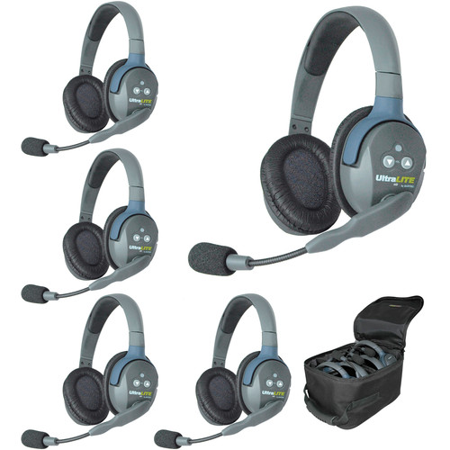 Eartec Ultralite 5 Person System with 5 Double Headsets, and Batteries, Charger and Case