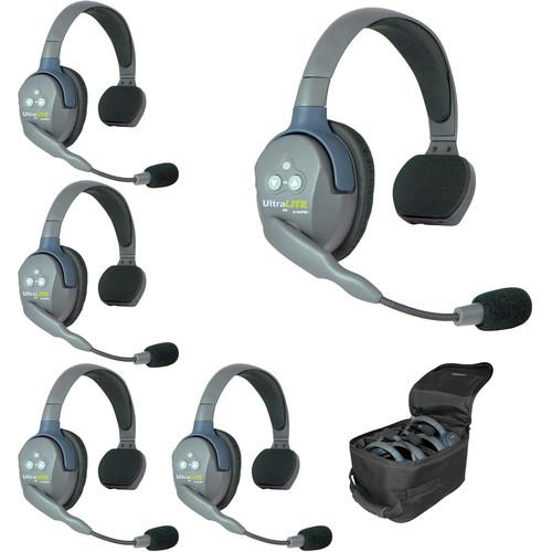 Eartec UL5S 5-Person Full-Duplex Wireless Intercom with 5 UltraLITE Single-Ear Headsets