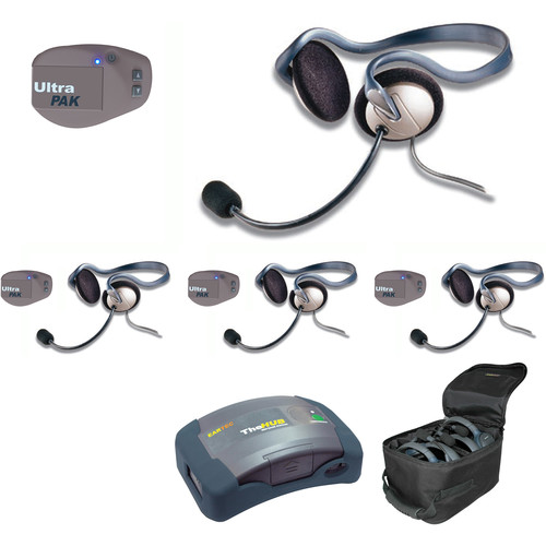 Eartec UPMON4 UltraPAK 4-Person HUB Intercom System with Monarch Headset