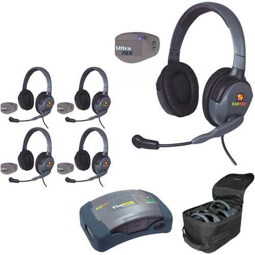 Eartec UPMX4GD5 UltraPAK 5-Person HUB Intercom System with Max4G Double Headset