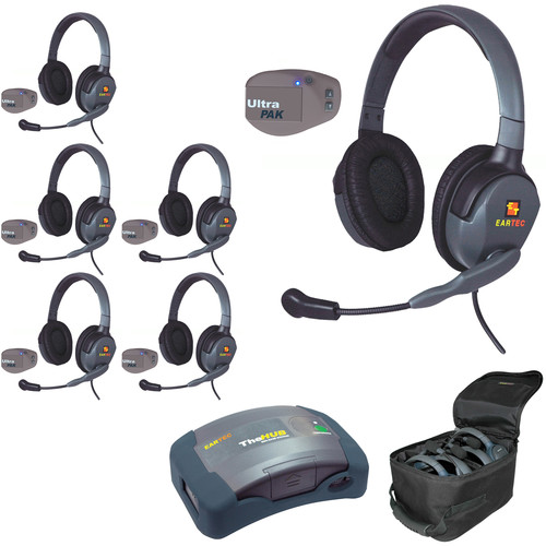 Eartec UPMX4GD6 UltraPAK 6-Person HUB Intercom System with Max4G Double Headset
