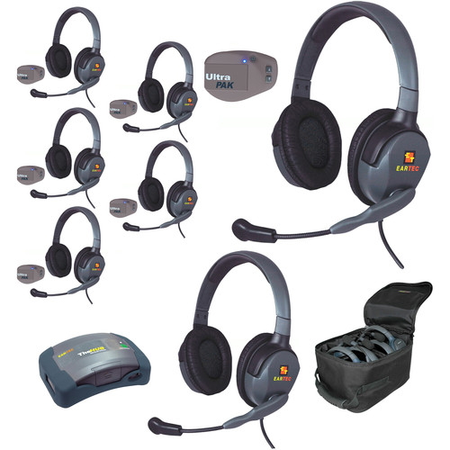 Eartec UPMX4GD7 UltraPAK 7-Person HUB Intercom System with Max4G Double Headset