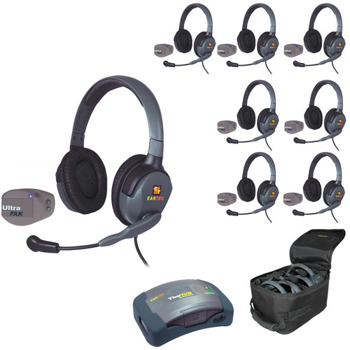 Eartec 1-Hub, 8 Ultrapak, 8 Max 4G Double Headsets and Batteries, Charger, Soft Sided Case