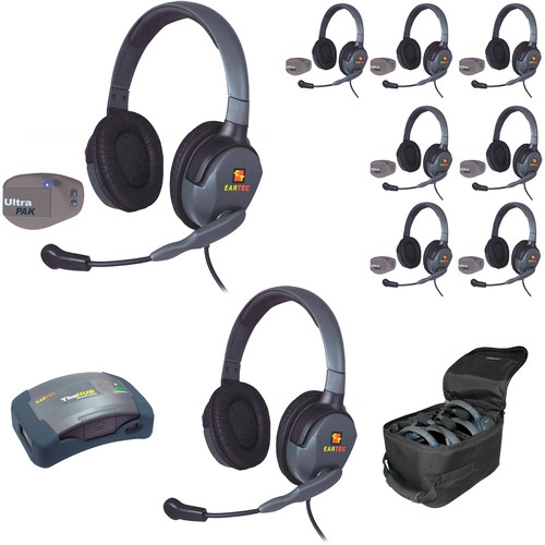 Eartec 1-Hub, 8 Ultrapak, 9 Max 4G Double Headsets and Batteries, Charger, Soft Sided Case