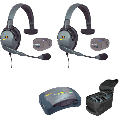 Eartec 1-Hub, 2- Ultrapak,  2- Max 4G Single Headsets with Batteries, Charger, Soft Sided Case