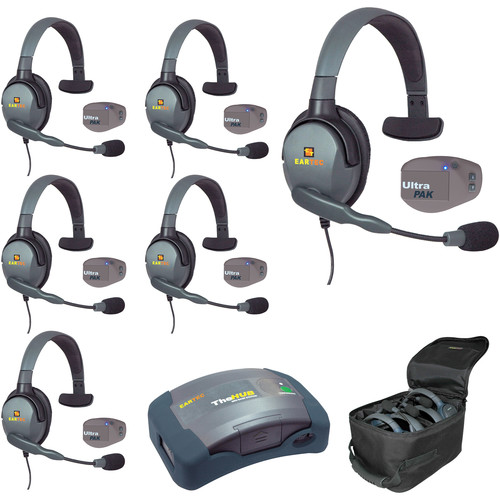 Eartec UPMX4GS6 UltraPAK 6-Person HUB Intercom System with Max4G Single Headset