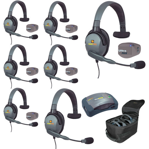 Eartec UPMX4GS7 UltraPAK 7-Person HUB Intercom System with Max4G Single Headset