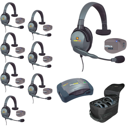 Eartec 1-Hub, 8 Ultrapak, 8 Max 4G Single Headsets and Batteries, Charger, Soft Sided Case