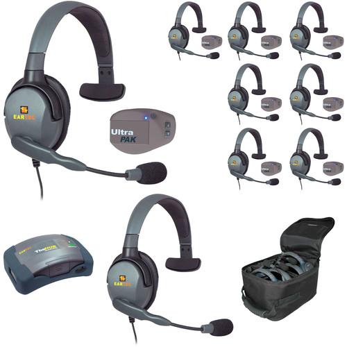 Eartec UPMX4GS9 UltraPAK 9-Person HUB Intercom System with Max4G Single Headset