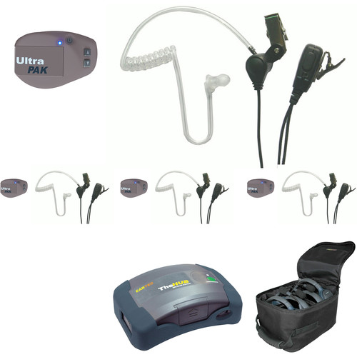 Eartec 1-Hub, 4- Ultrapak  4- SST Headsets with Batteries, Charger, Soft Sided Case