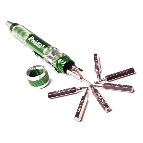 Eclipse Tools 9 in 1 Aluminum Handle Precision Screwdriver Set (Green)