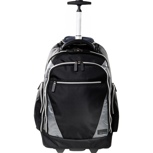 "ECO STYLE Sports Voyage Rolling Backpack for Laptop up to 17.3"" (Black & Platinum)"