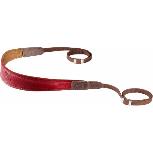 EDDYCAM Premium Camera Strap (Small, Red/Natural with Natural Stitching)