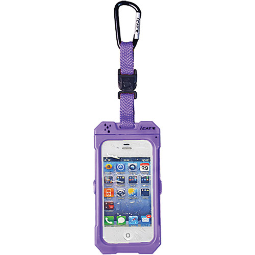 EK USA Dri Cat Hang it Waterproof Case with Carabiner Leash for iPhone 4/4S (Purple)
