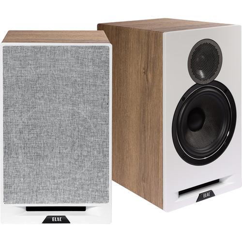 ELAC Debut Reference Two-Way Bookshelf Speaker (White Baffle, Oak Cabinet, Pair)