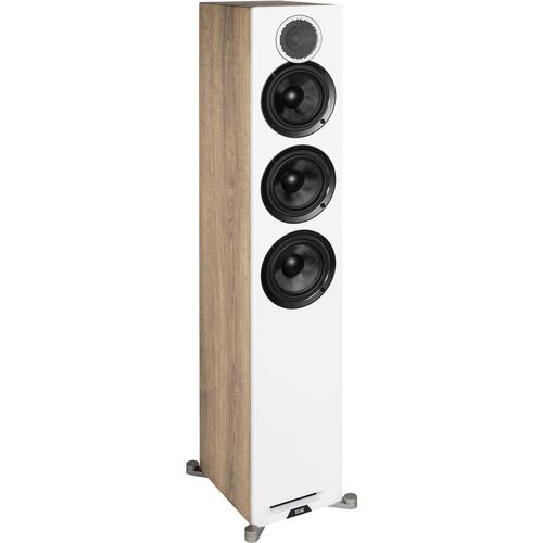 ELAC Debut Reference Three-Way Floorstanding Speaker (White Baffle and Oak Cabinet, Single)