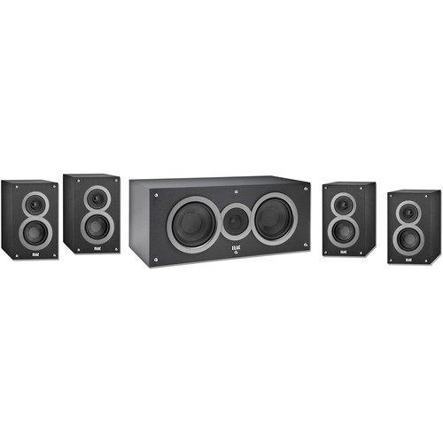 ELAC 5.0 Channel Bookshelf Home Theater Package (Black)