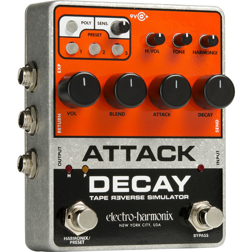 Electro-Harmonix Attack Decay Tape Reverse Simulator Pedal for Electric Guitar