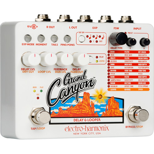 Electro-Harmonix Grand Canyon Delay and Looper Pedal for Electric Guitarists