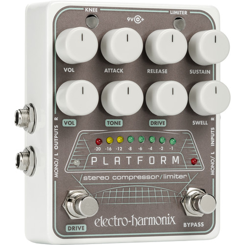 Electro-Harmonix PLATFORM Stereo Compressor/Limiter Pedal with Power Supply