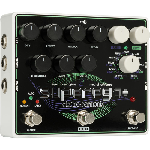Electro-Harmonix Superego+ Freeze, Synth Engine & Multi-Effects Pedal with Power Supply