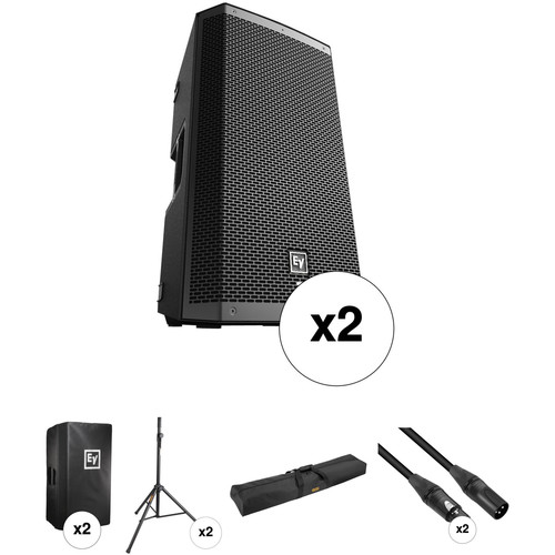 """Electro-Voice Dual ZLX-12P-US 12"""" Two-Way Powered Loudspeakers & Essential Accessories Kit"""