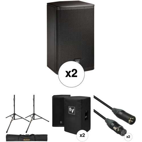 Electro-Voice ELX112P Kit with 2x Speakers, Stands, Covers, Cables, and Bag