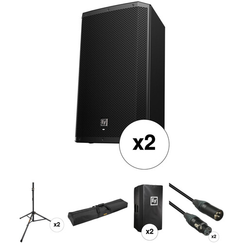 """Electro-Voice EV ZLX15P Dual 15"""" Speakers with Stands, Covers, and Cables Kit"""