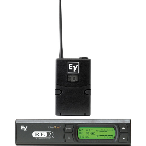 Electro-Voice RE-2 UHF Wireless Bodypack Microphone System - RE-2 Receiver, BPU-2 Beltpack Transmitter and OLM10 Omnidirectional Lavalier (Band G: 614 - 642 MHz)