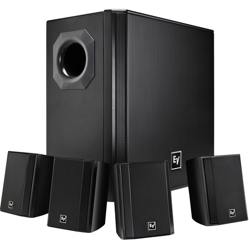 Electro-Voice EVID-S44 One Subwoofer and Four-Satellite Wall Mount Speaker System (Black)