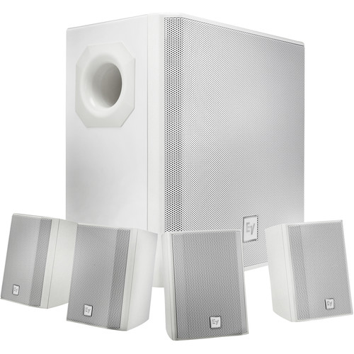 Electro-Voice EVID-S44W One Subwoofer and Four-Satellite Wall Mount Speaker System (White)