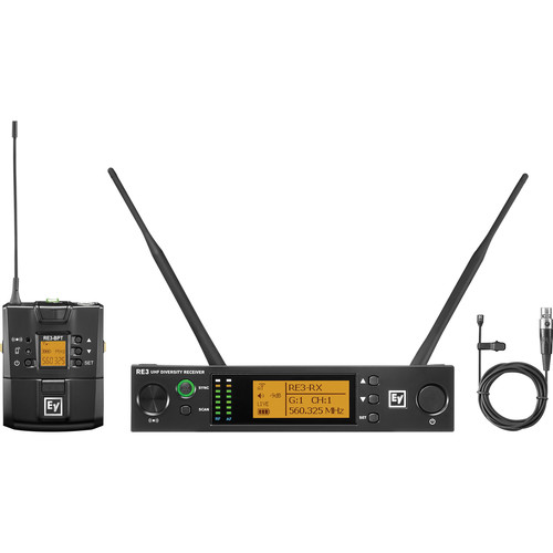 Electro-Voice RE3-BPOL Bodypack Wireless System with Omnidirectional Lavalier Mic (5H: 560 to 596 MHz)